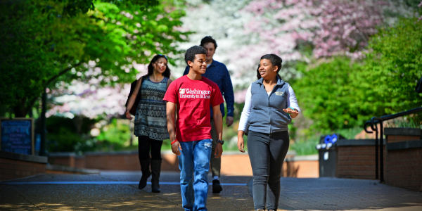 smiling students walk on a tree-lined path